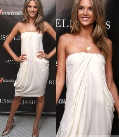 Alessandra Ambrosio White Draped Dress