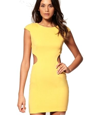 Bodycon Cut Out Side Dress with Cap Sleeve