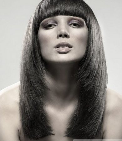 Long Layered Hair with Blunt Bangs