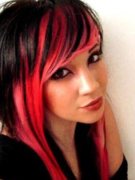 Scene Hairstyle in Red and Black