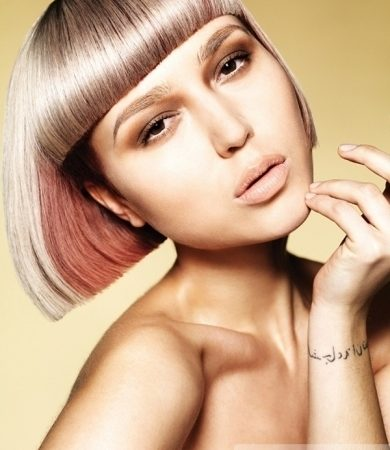 Blonde Hair and Light Pink Highlights