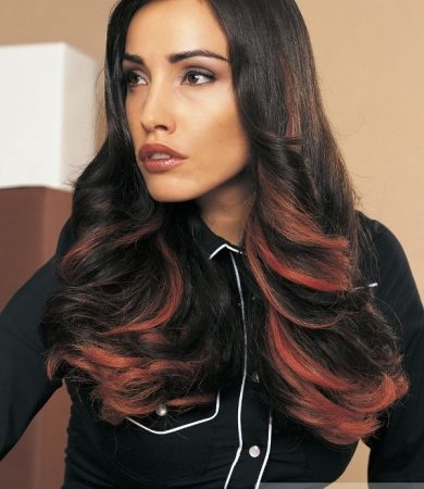 Long Hair with Red Highlights