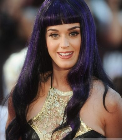 Katy Perry's Long Purple Hair with Bangs