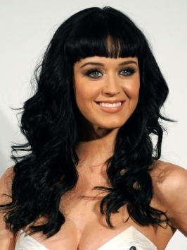 Katy Perry Long Wavy Hair with Bangs