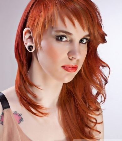 Long Punk Layered Red Hair Style