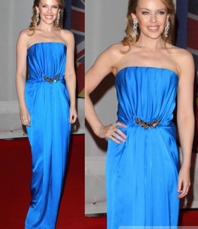 Kylie Minogue in Yves Saint Laurent Dress