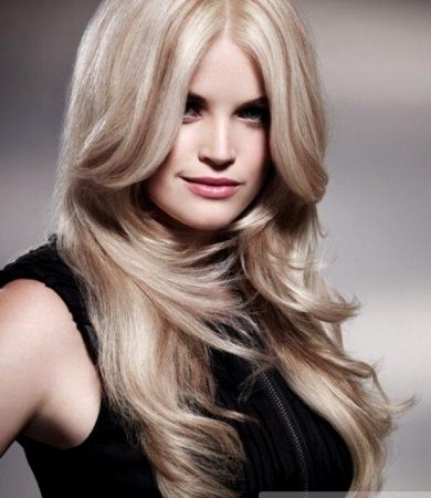 Long Blonde Mid Part Hair Style