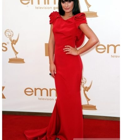 Lea Michele in Marchesa Red Gown