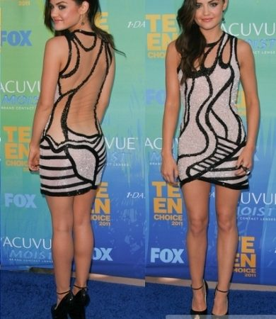 Lucy Hale in Georges Hobeika Sequin Cutout Dress
