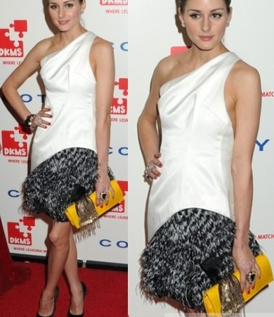 Olivia Palermo in Prabal Gurung White Dress with Feathers
