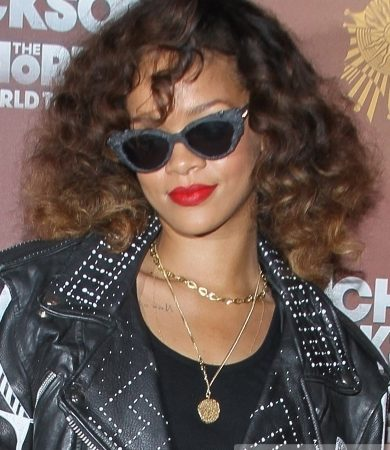 Rihanna with Fluffy Curly Hairstyle