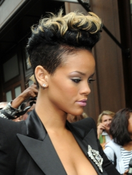 Rihanna's Curly Mohawk  with Blonde