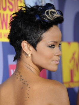 Rihanna with Blue and Blonde Highlights