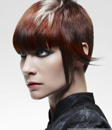 Red Hair with Platinum Blonde Highlights
