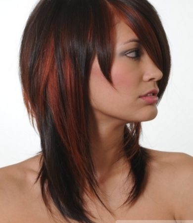 Stylish Brunette Hair with Red Highlights