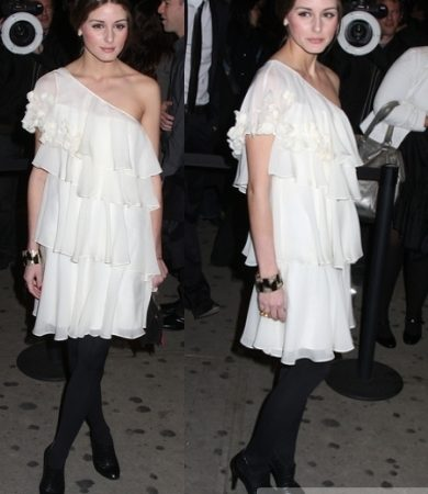 Olivia Palermo in Rebecca Taylor White Tiered Dress