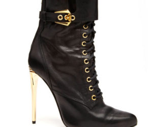 Balmain Lace Up Leather Boots