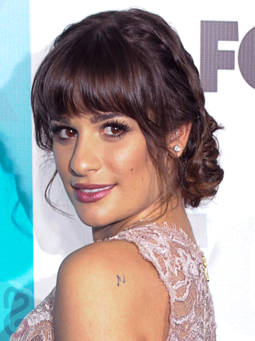 Lea Michele Braided Chignon Updo Side View