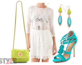 White Sheer Lace Dress