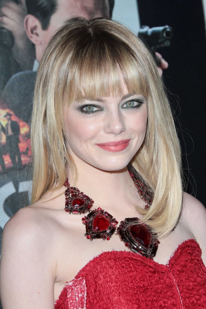 Emma Stone Medium Hairstyle With Blunt Bangs