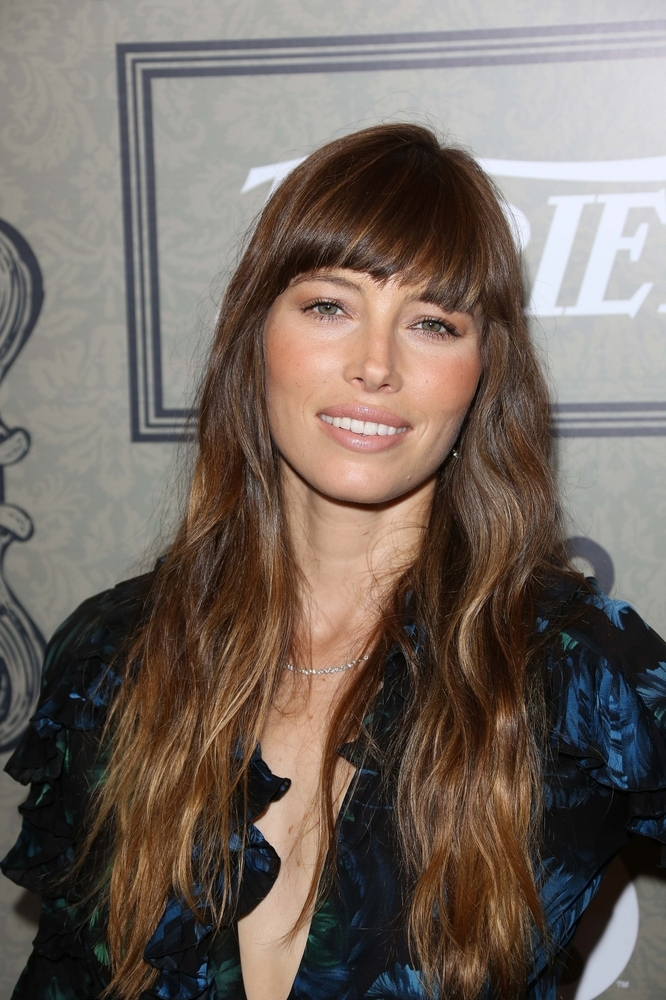 Jessica Biel Layered Hairstyle With Bangs