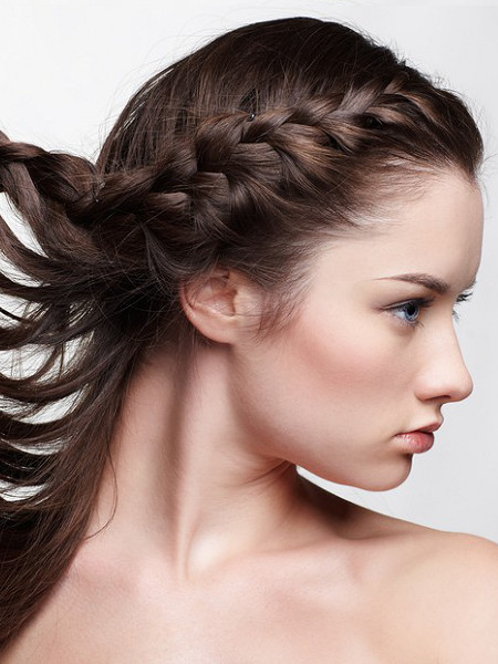 Side Braid Hairstyle For Growing Out Bangs