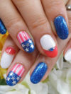 Fourth Of July Flag Nail Art