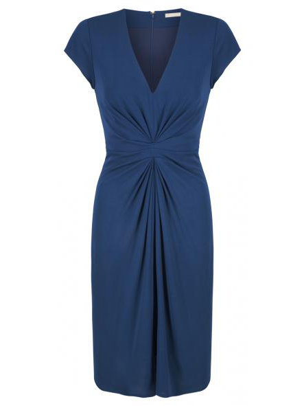Issa For Banana Republic Blue Gathered Waist Dress