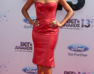 Gabrielle Union Red Strapless Dress