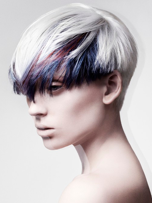 Short Punk Hairstyle With Colored Bangs