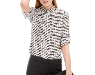 J Crew Silk Boy Blouse In Tossed Hearts