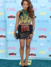 Kat Graham Multi Print Top With Leather Skirt