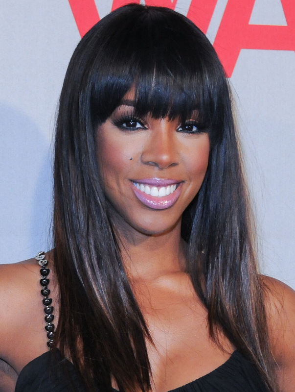 Kelly Rowland Blunt Bangs Straight Hairstyle