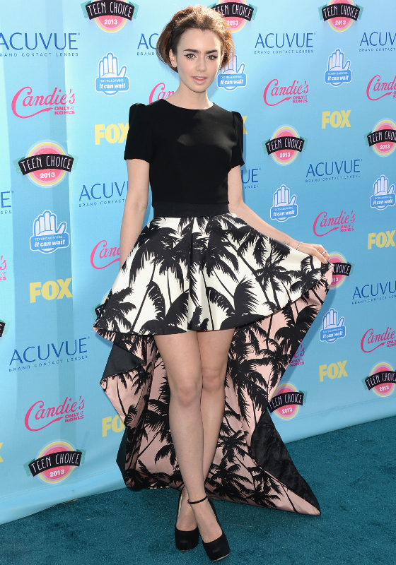 Lily Collins Houghton Palm Print Skirt