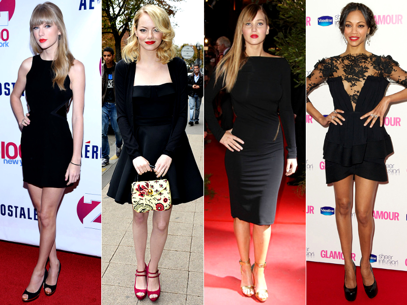 Red Lipstick With Little Black Dress