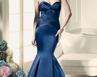 Blue Dress Signed Truly Zac Posen For David's Bridal Collection