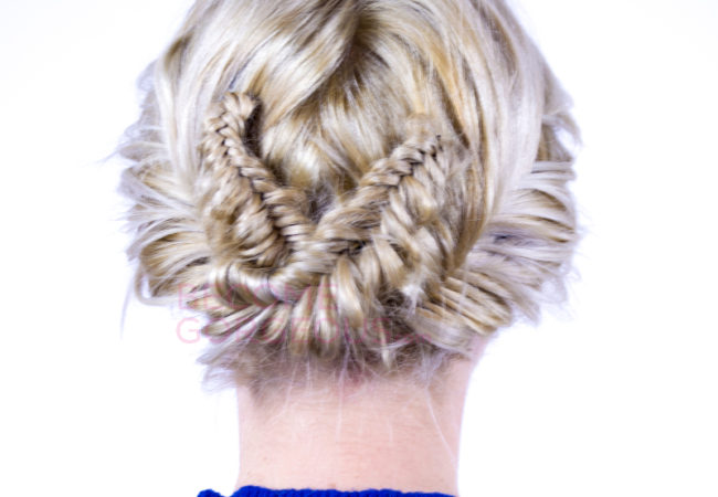 Double Fishtail Braid Updo Tutorial
