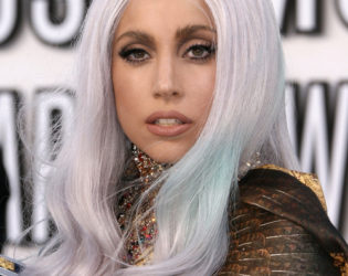 Lady Gaga Gray Hair With Blue Tips