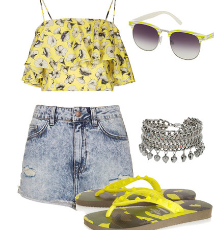 Sporty Retro Flip Flops Outfit