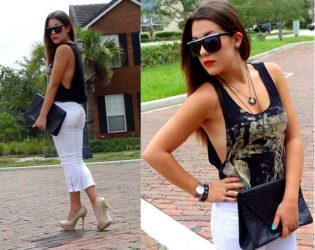 White Jeans Capris Outfit