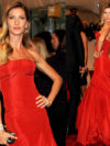 Gisele Bundchen In Alexander Mcqueen Red Gown