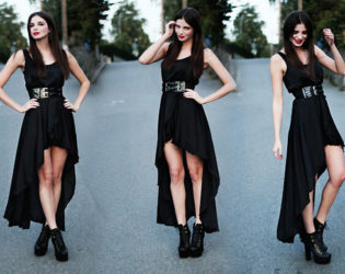 All Black Outfit With Hi Lo Dress