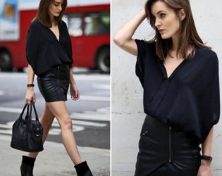 All Black Outfit With Mini Skirt