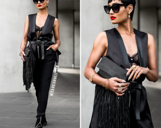 All Black Outfit With Vest And Pants