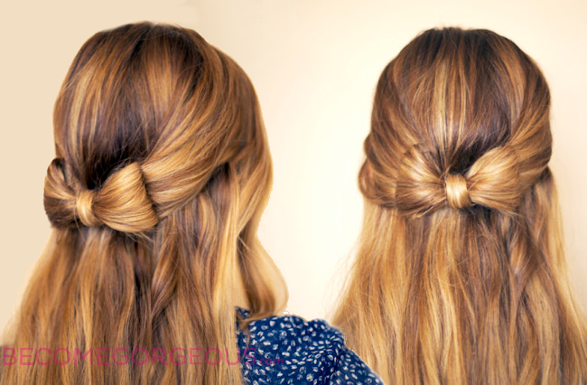 How to Style a Bow Half Updo Hairstyle