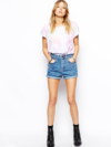 Retro Denim Shorts And Colored Tee