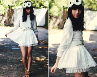 White Outfit With Skirt And Cardigan