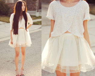 White Outfit With Skirt And Top