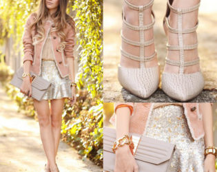 Wedding Guest Outfit With Blazer And Sequin Skirt
