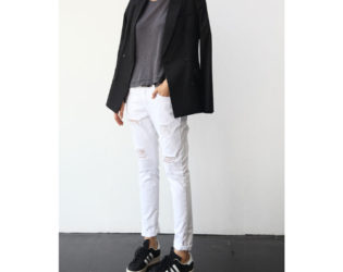 White Jeans With Jacket And Sneakers